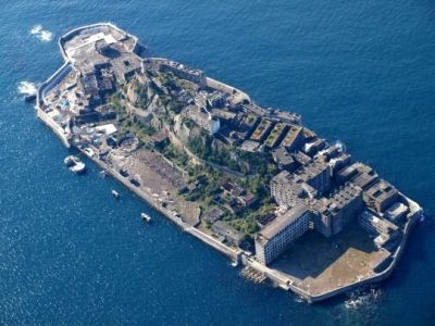 The abandoned mining installation at Battleship Island off the coast of Japan.