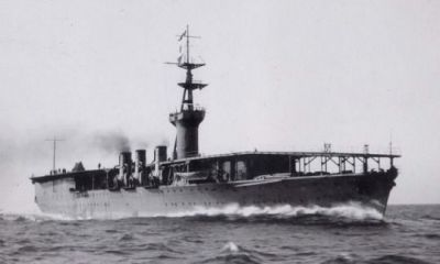 The revolutionary IJN Hōshō at sea in 1922, the world's first aircraft carrier.