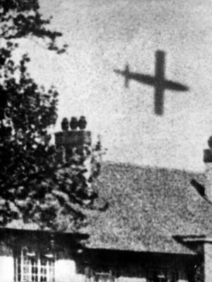 A V1 Buzzbomb terror weapon moments before impact, 1945.
