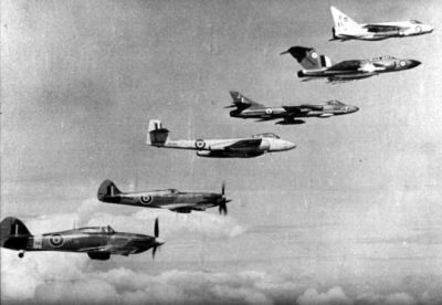 A row of RAF fighters including the Hurricane, Spitfire, Meteor, Hunter, Javelin and Lightning, the total history of the RAF's air superiority fighters up to that point.