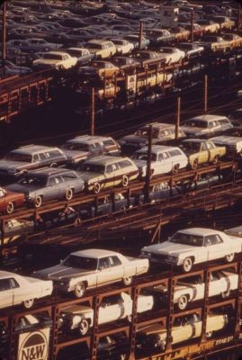 New cars are shipped out of Detroit by rail in 1973.