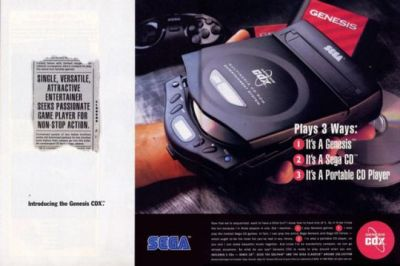 An advertisment flier for the SEGA CDX portable CD player and game console combo.