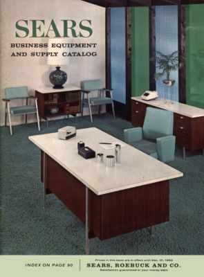 An archive photo of the cover of the Sears Business Catalog from 1963, showcasing the perfect modern office of the time.  Imagine going back in time and telling people that Sears would be bordering on insolvency and irrelevance in less than 50 years time. They would think you were crazy!