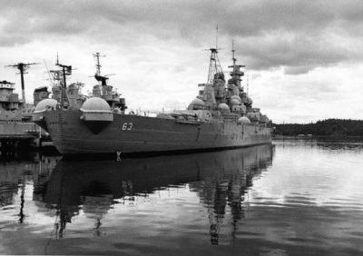The Battleship USS Missouri during the shooting of the film MacArthur, 1976.