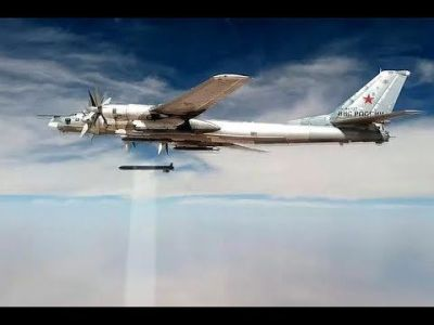 """A Russian Federation TU-95 """"Bear"""" bomber drops an HA-101 air-to-surface weapon in 2016 as part of the Russian Federation's efforts to rid the world of the dregs of ISIS, one bomb at a time."""