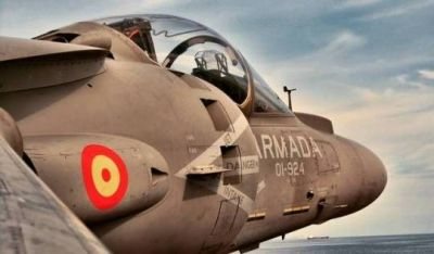 """An AV-8B """"Harrier"""" jet fighter in service with the Spanish Armada, their Navy forces."""