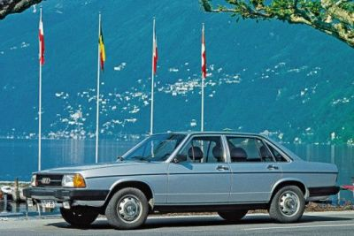 A promotional photo for the then-new 1976 Audi 100.