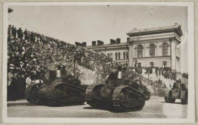 Renault FT-17's during a parade in Helsinki, Finland on May 16, 1920.