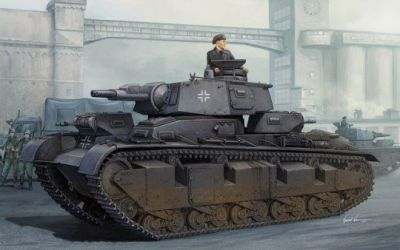 """A painting of the Nubaufahrzeug VI, the last upgrade to the German prototype """"heavy"""" Panzer. The Nubaufahrzeug series had been developed shortly before World War Two in Russia to skirt international sanctions, and were based on the popular designs of the time; featuring multiple-turreted vehicles like the British Vickers Medium Mk. III, Russian T-28 and T-35 tanks, and though somewhat smaller, the Vickers E-series of tanks. The Nubaufahrzeugs didn't see any meaningful action- instead serving in occupied Norway as a show-of-force weapon against the essentially disarmed Norwegian population. The Norwegians cut the Nubaufahrzeugs to bits after the war."""