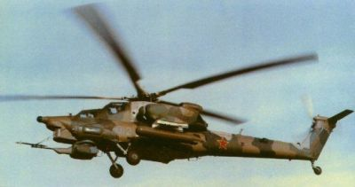 An early-model MI-28 helicopter in service with the Soviet Union.