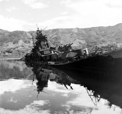 The Imperial Japanese heavy cruiser IJN Tone sunk off the coast of Japan in 1945.