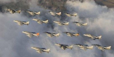 A formation flight of Harriers.