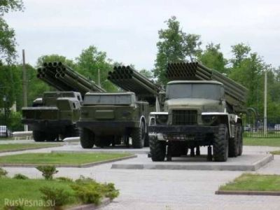 A trio of old Soviet Multiple Launch Rocket Systems (MLRS) including (from left to right) the SMERCH, URAGAN, and GRAD launchers.