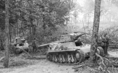 A duo of French Hotchkiss H-39 tanks in service with a German Panzer unit serving far from home in Yugoslavia, 1941.