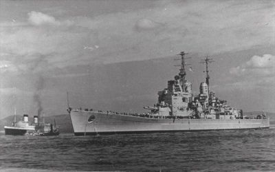The battleship HMS Vanguard, the last battleship ever launched, as seen in 1946.