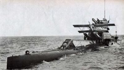 The HMS M2, a curious experimental submarine/aircraft carrier hybrid tested by the Royal Navy in 1927.