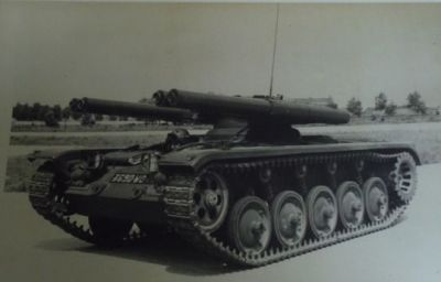 The French experimental ELC EVEN 120, a variant of the EVEN series of ELC vehicles that featured four 120 millimeter recoil-less rifles as armament. The ELC program was designed to create a series of standardized air-deploy-able tanks, none of which proved successful.