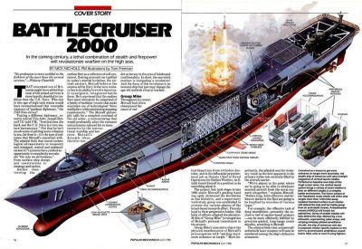 "A Popular Mechanics article from 1988 on the subject of ""Battlecruiser 2000""."