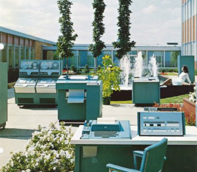 "A sales photo titled ""The Technology Garden"" from 1968."