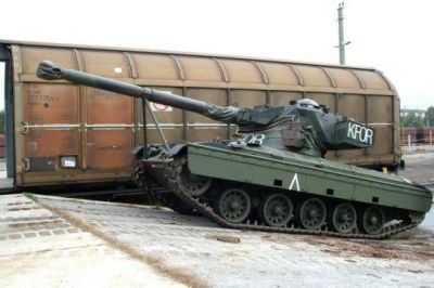 An Austrian SK-105 Kürassier tank shortly before it was sent to the KFOR mission in Kosovo.