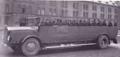 """The 1928 Magirus MM, a vehicle built to haul the German Police to whatever event might require, well, all of them. Germany was forbade from developing such heavy """"military"""" vehicles following WW1, so developing them for the Police was a legal loophole."""