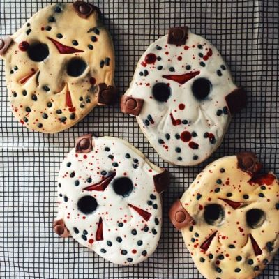 In honor of Friday the 13th, here are some Jason Voorhees cookies!