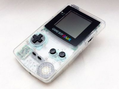A clear Game Boy Color, from a time when all technology came in cool clear plastics.