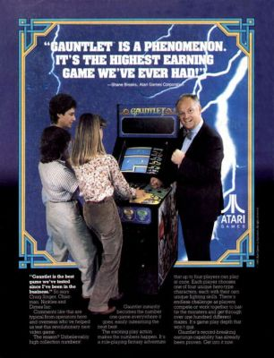 A promotional poster for the arcade game Gauntlet, aimed at arcade owners and amusement route operators.