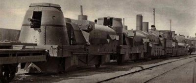 An armored train sits ready for orders in Russia, 1942.
