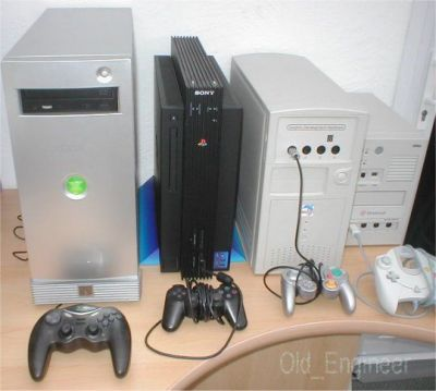 Various console software development computers, from left to right, the Microsoft DirectX-Box (X-Box), Sony Playstation 2, Nintendo Gamecube, and Sega Dreamcast.