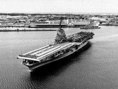 USS Hornet at Pearl Harbor, 1955.