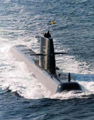 The Gotland, a Swedish submarine sailing through the North Sea, sometime in 2016.