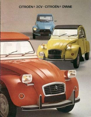An oldschool ad for the Citroen 2CV.