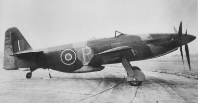 The Martin-Baker MB-5 turbo-propelled fighter, which used 2 contra-rotating propellers to give it tremendous speed. However, as jet engines improved, turbo-propelled fighters like the MB-5 fell out of favor, and did not enter mass production.