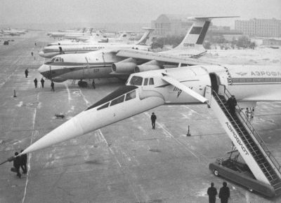 The incredible TU-144 supersonic airliner, the Soviet attempt to copy the Concorde, in Moscow in 1969. Today, the airplane rots in a field, a sad fate for something that by all accounts was only narrowly within the technical capabilities of it's makers.
