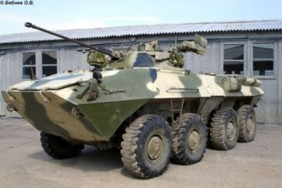 A BTR-90 infantry fighting vehicle with the newly developed ROSTOK II turret on top, which features improved combat abilities against armored vehicles.