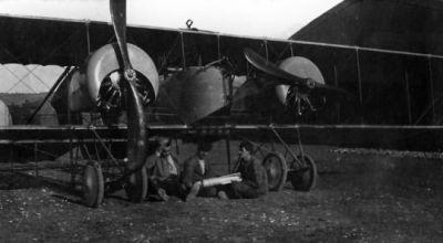 A World War One Caudron G.4 bomber plane.