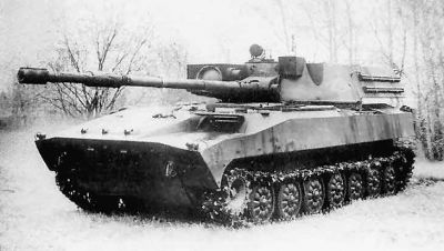 The Norov, a big gun mounted on a PT-76.