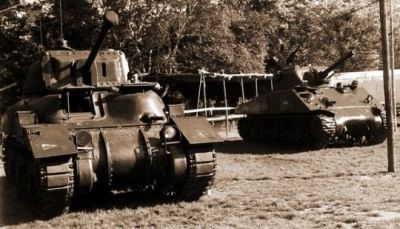 A Canadian RAM II and M4A3E2 in the Netherlands, 1948.