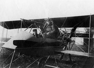A Vosin II airplane showing off it's machine gun position.