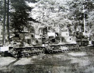 Vickers Medium II tanks, woefully obsolete by the Winter War, in service with the Finnish army to repel the Soviet Union. Most were used as static defenses once better equipment was secured from either the Germans or captured from the Soviets.