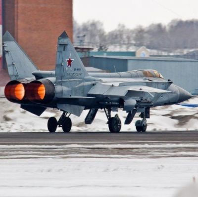A MiG 31 fired up.