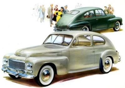 A scan of a 1957 advertisement flyer for Volvo.