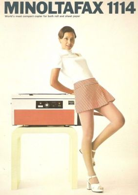 A print ad for the 1972 Minoltafax 1114, an office fax machine for a different era.