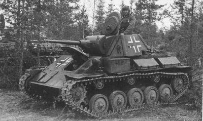 A captured Soviet T-70 light tank in German service.