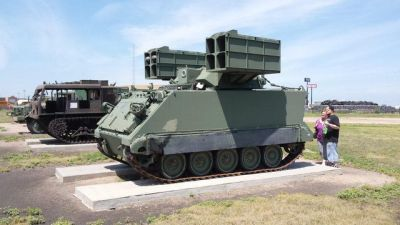 An M150 ATGM system, basically an M113 armed with an array of TOW missiles for blasting armored targets.
