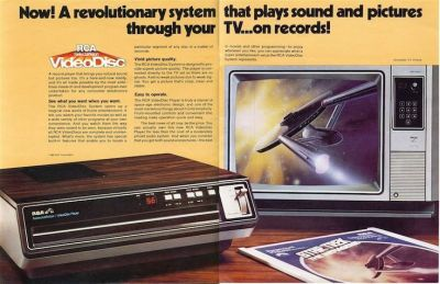 """A print ad for the RCA SelctaVision VideoDisk CED system, and it's big launch movie """"Star Trek: The Motion Picture""""."""