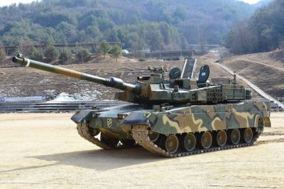 "A South Korean K2 ""Black Panther"" Main battle Tank, the South Korean's answer to North Korea's modernized T-62 and T-72 fleet."