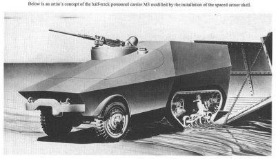 A prototype M3 half track featuring spaced armor to improve it's durability. Ultimately both it and the M4 Improved (which featured similar improvements) did not enter production.
