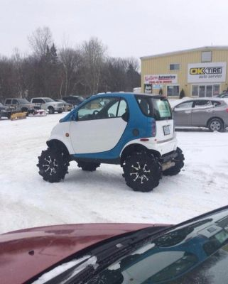 This Smart car can go almost anywhere!